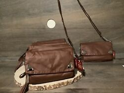 Faded Glory Women#x27;s Brown Purse New Crossbody Bags NWT LONG STRAP GUSSET $7.99