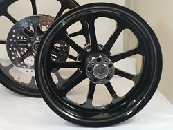 21x3.25 And 18x5.50 Harley Road Glide Gloss Black Nine Wheel Abs And Front Rotors