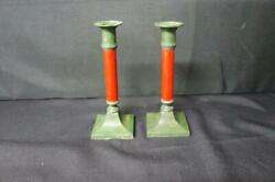 Pair Vintage Cast Iron Green And Wood Red Candlesticks 8 Tall