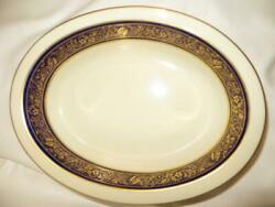 Lenox Barclay Open Oval Vegetable Bowl Discontinued China With Cobalt Gold Trim