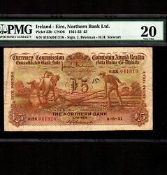 Ireland 5 Pounds 1931 P-33b * PMG VF 20 * Super Rare in Northern Bank Name *