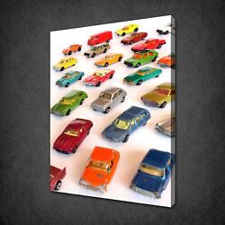 Kids Toy Cars Collection Vintage Box Canvas Print Wall Art Picture
