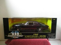 1 18 SCALE ERTL AMERICAN MUSCLE 10 FASTEST BLACK 1968 CHEVELLE SS396