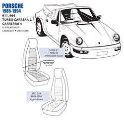 For Porsche 911 964 Turbo Carrera 7in Bolster Front Leather Seat Cover Set 85-94