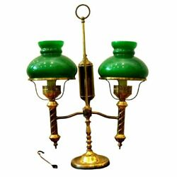 Antique Lamp,brass Double Arm, Student, Oil-now Electric, Green Shades, 1800s