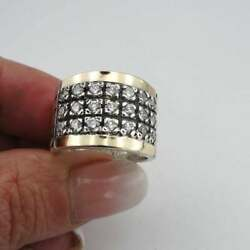 Solid Two Tone 925 Sterling Silver With Old Cut Cubic Zirconia Men's Fine Ring