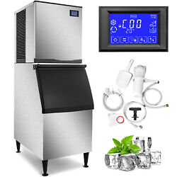 500lbs/24h Commercial Ice Maker Machine Cafes 350lbs Storage Bin Digital Control