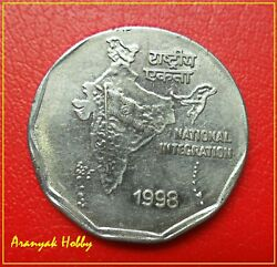 2 Rupees 1998 Oms Off Metal Struck Catching Strong Magnet