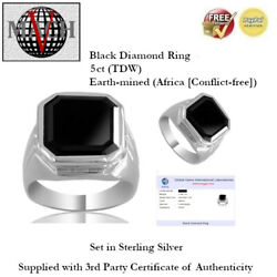 5ct Tdw Black Diamond Ring - Sterling Silver + Certificate Of Authenticity
