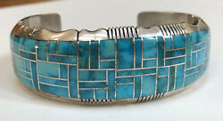 Vintage Navajo Indian Sterling And Channel Inlay Cuff Bracelet Jerry T Nelson
