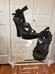 Celine Leather Black Wedges Strappy Ankle Wrap Shoes Bo 650 Sz 38