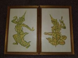 Rare Tai 1900s India Hindu Pressed Etched Water Color Paintings Art Rice Canvas