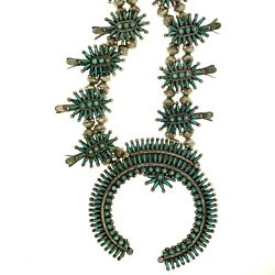 Zuni Sterling Silver Turquoise Needlepoint Squash Blossom Necklace