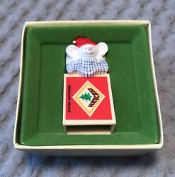 1979 Hallmark Tree Trimmer Christmas Clip On Ornament Mouse In Matchbox Vintage