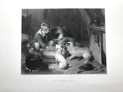 Sir Edwin Landseer THE BREAKFAST PARTY c1880 Original dogs with child antique