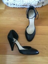 Evita European designer shoes heels black leather ankle EU 40 US 9 round  $39.00