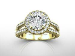 Diamond Halo Ring 4 Prong 1 1/2 Carats Colorless Womens Solid 18 Kt Yellow Gold