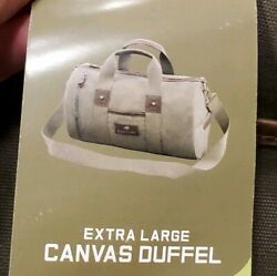 Nature's Lodge Canvas Duffel Bag Genuine Leather Casual Extra Large Travel