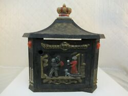 Cast Iron Mail Box Vintage Man On Horse Couple With Dog Horn Detail Painted