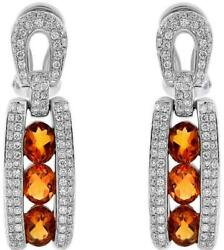 2.66ct Round Diamond And Aaa Oval Citrine 14kt White Gold Hanging Earrings