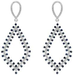 3.42ct Diamond And Aaa Sapphire 14kt White Gold 3d Double Row Fun Hanging Earrings