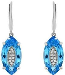 17.94ct Diamond And Aaa Blue Topaz 14kt White Gold 3d Marquise Hanging Earrings