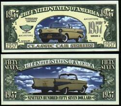 1957 Classic Car Chevy Chevrolet Novelty Dollar Bill Funny Money Gag Gift Note