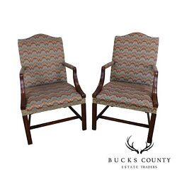 Hickory Chair Chippendale Style Mahogany Pair Flame Stitch Armchairs