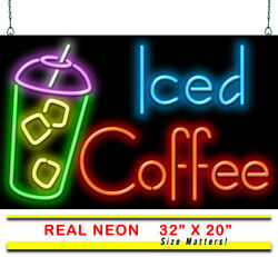 Iced Coffee Neon Sign   Jantec   32 X 20   Cafe Bookstore Espresso Tea Blended