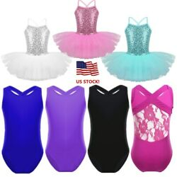 US Girls Sequin Ballet Tutu Dress Kids Dance Leotard Ballerina Dancewear Costume
