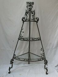 Antique French 4 Tiered Iron Corner Stand With Vines Roses And Glass Shelves