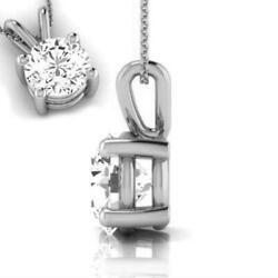 Round Necklace Women Natural Solitaire Pendant 18k White Gold 4 Prong 1.5 Ct