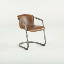 Leather Barrel Back Arm Dining Chair Chestnut Metal Base Set of 4 Chairs HT