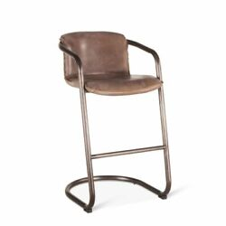 Leather Barrel Back Arm Bar Chair Barstool Metal Base Set of 4 Chairs HT
