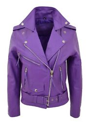Womens Lilac Cowhide Biker Leather Jacket Fitted Belted Popular Brando Jacket