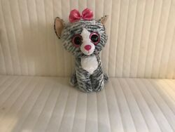 Kiki Big Grey Cat 🐈 With A Pink Bow Beanie Boo Collectibles Big Cats.meow�