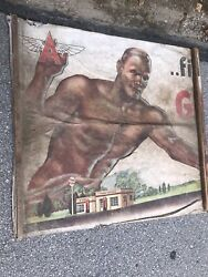 Very Rare Flying A Tydol Gas Cloth Sign 1940s Gasoline Oil Advertising Banner