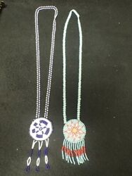 2 Vintage Native American Indian Blue, Red And White Glass Beaded Necklaces