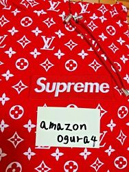 New Supreme Louis Vuitton LV Box Logo Parker Hoody Red White S Size Auth FS