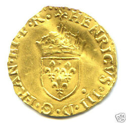 Henri III (1574-1589) ECU Gold in the Sunglasses 1584 I Limoges Extremely Rare