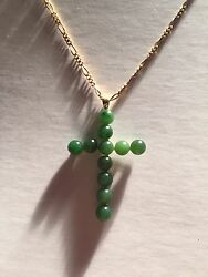 Antique Imperial Green Jadeite And 14k Yellow Gold Cross Japan Circa 1900-1920