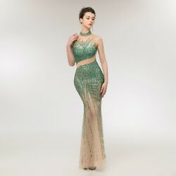 Sexy Mermaid High Neck Beading Sequins Pageant Prom Gowns Evening Party Dresses