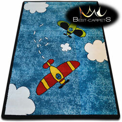 Soft Carpets Bedroom Boys Girls Thick Children Rug 'KIDS' Planes FUN rugs LARGE