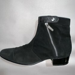 Authentic Size 42 Black Suede Side Zip Ankle Boots Desgn Sample 1600