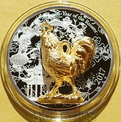 2017 Congo Lunar Year Of The Rooster 3d Silver Color Gilded Gemstone Proof Coin