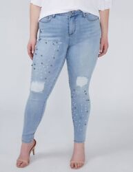 Lane Bryant Womens 24 Jeans Power Pockets Super Stretch Skinny Ankle Faux Pearls