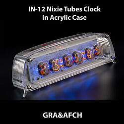 In-12 Nixie Tubes Clock In Acrylic Case 12/24 Slotemachine With Sockets Graandafch