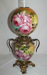 Victorian Hand Painted Gone With The Wind Oil Lamp W/ Roses Gwtw Banquet Lamp