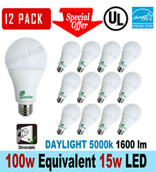 12 Led Light Bulbs 15w / 100w Replacement 1600l Daylight 5000k A19 Dimmable E26