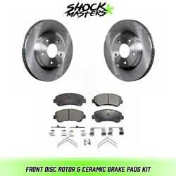 Front Disc Rotor And Ceramic Brake Pads For 2014-2015 Nissan Rogue Select